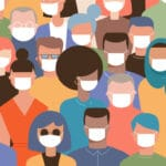 Illlustration of many people wearing masks to prevent COVID-19